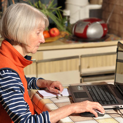 elderly woman behind the computer