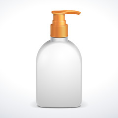 Plastic Clean White Bottle With Yellow Dispenser Pump