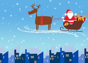 Santa and reindeer christmas background