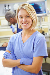 Portrait Of Nurse Working In Emergency Room
