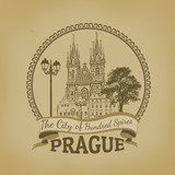 Prague ( The city of hundred spires) poster