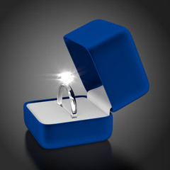 Platinum Ring with Blue Box