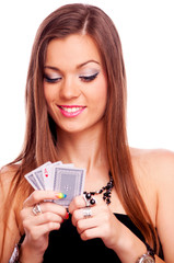 Brunette playing poker
