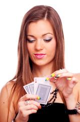 Brunette playing poker