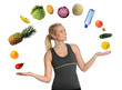 Young Woman Juggling Fruits and Vegetables