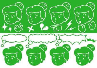 女性の顔ロゴ
