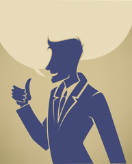 Young and bright, businessman silhouettes and speech bubbles