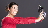 Self Portrait Attractive Excited Woman Takes Selfie Picture Port poster