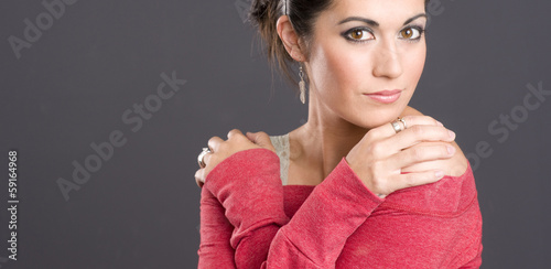Big Brown Bright Eyed Attractive Woman Wearing Red Charcoal Back