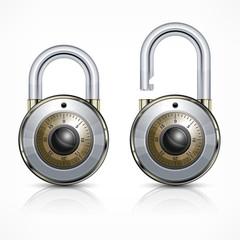 Two round metallic code padlock isolated on white, vector