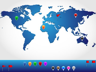 World map with pins and banners for location pinpoint