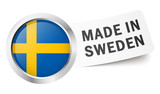 "Button mit Fahne "" MADE IN SWEDEN """