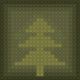 Christmas tree made from lego block in green color poster