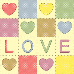 Background with hearts and love in patchwork style