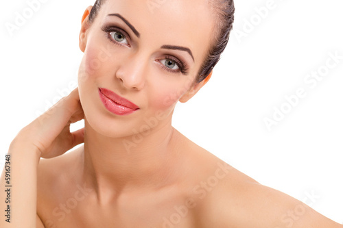 young woman with beautiful scin posing