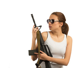 Girl with a rifle M16