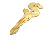 Success key with dollar symbol