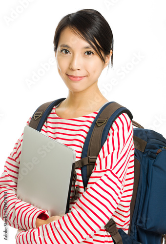 Asian university student with notebook