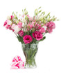 Pink eustoma flowers with  present  box