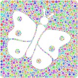 Decorative mosaic of a Butterfly into a square icon