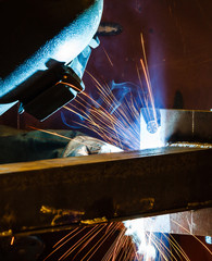 MIG welding in a factory
