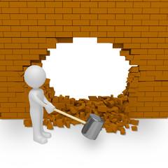 smashes wall