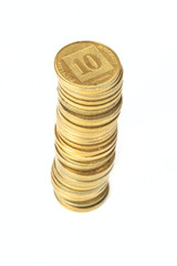 Stack of coins Israeli ten agorot in shallow DOF