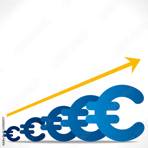 increase euro graph background vector