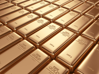 Gold bars. Concept of banking. 3D Illustration
