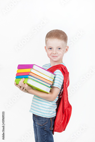 Boy and books isolated on a white background © GTeam