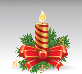 Advent candle with red bow vector