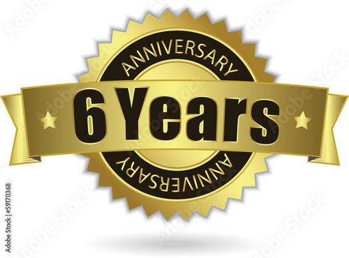 """6 Years Anniversary"" - Retro Golden Ribbon, EPS 10 vector"