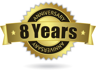 """8 Years Anniversary"" - Retro Golden Ribbon, EPS 10 vector"