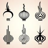 Set of onion icons in different graphic styles