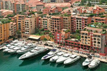 Yachts and modern buildings in Monte Carlo, Monaco.
