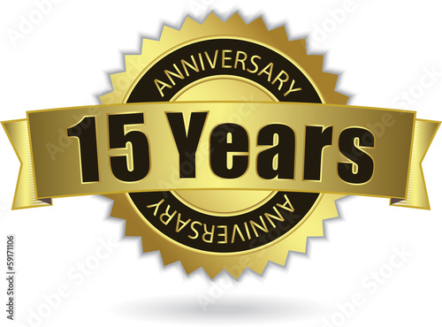 """15 Years Anniversary"" - Retro Golden Ribbon, EPS 10 vector"