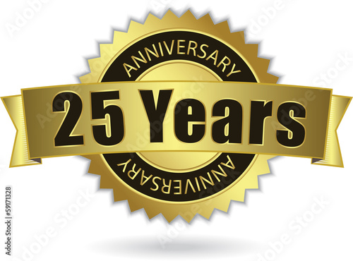 """25 Years Anniversary"" - Retro Golden Ribbon, EPS 10 vector"