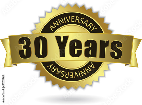 """30 Years Anniversary"" - Retro Golden Ribbon, EPS 10 vector"