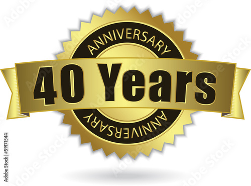 """40 Years Anniversary"" - Retro Golden Ribbon, EPS 10 vector"