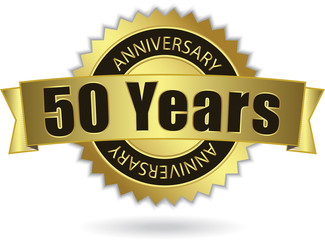 """50 Years Anniversary"" - Retro Golden Ribbon, EPS 10 vector"