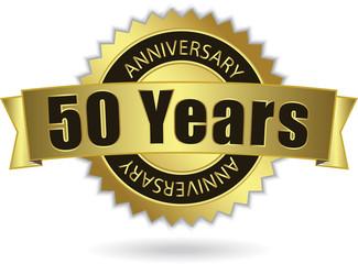"""50 Years Anniversary"" - Retro Golden Ribbon, EPS 10 vector"