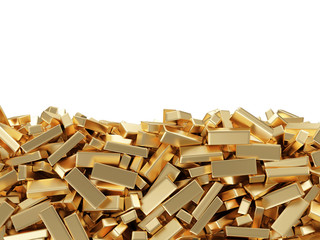 Golden Bars on white background with place for your tex