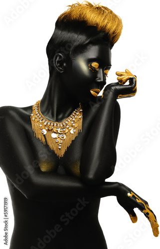 dark-skinned with golden decor