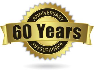 """60 Years Anniversary"" - Retro Golden Ribbon, EPS 10 vector"