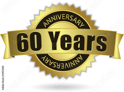 """60 Years Anniversary"" - Retro Golden Ribbon, EPS 10 vector"