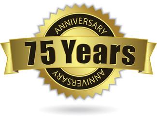 """75 Years Anniversary"" - Retro Golden Ribbon, EPS 10 vector"