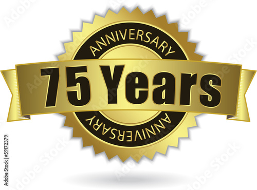 """75 Years Anniversary"" - Retro Golden Ribbon, EPS 10 vector"