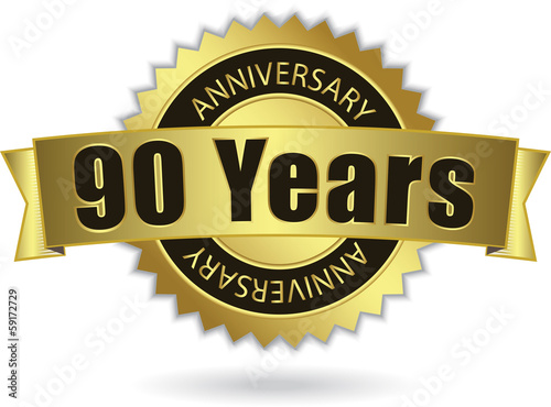 """90 Years Anniversary"" - Retro Golden Ribbon, EPS 10 vector"