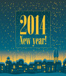 2014 Happy New Year on the background of night city