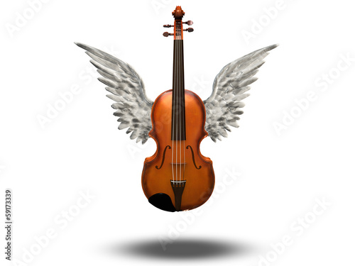 Violin with wings on white